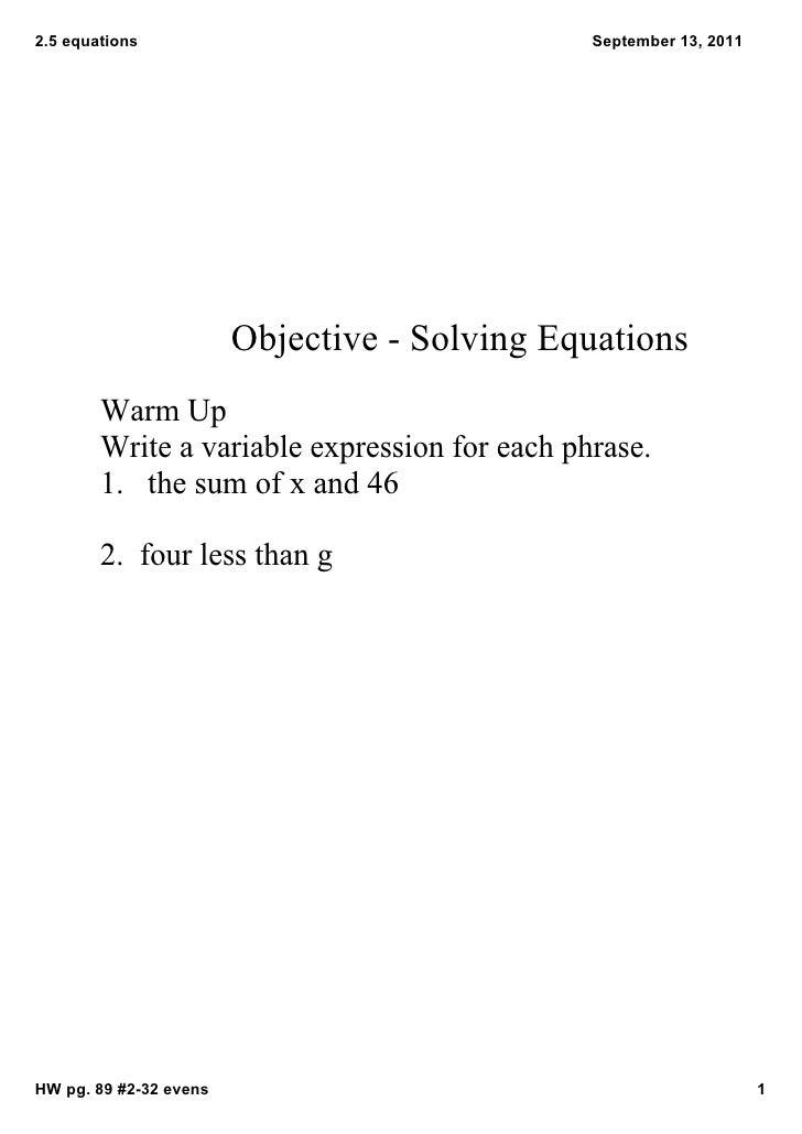 2.5equations                                  September13,2011                        ObjectiveSolvingEquations   ...