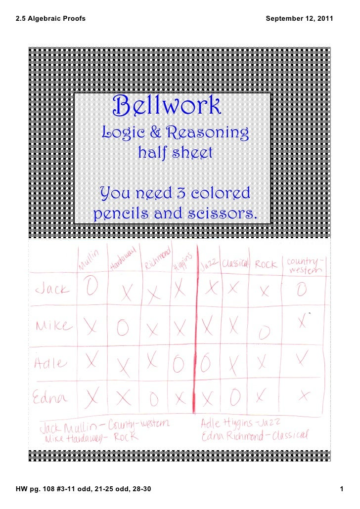 2.5AlgebraicProofs                           September12,2011                           Bellwork                      ...