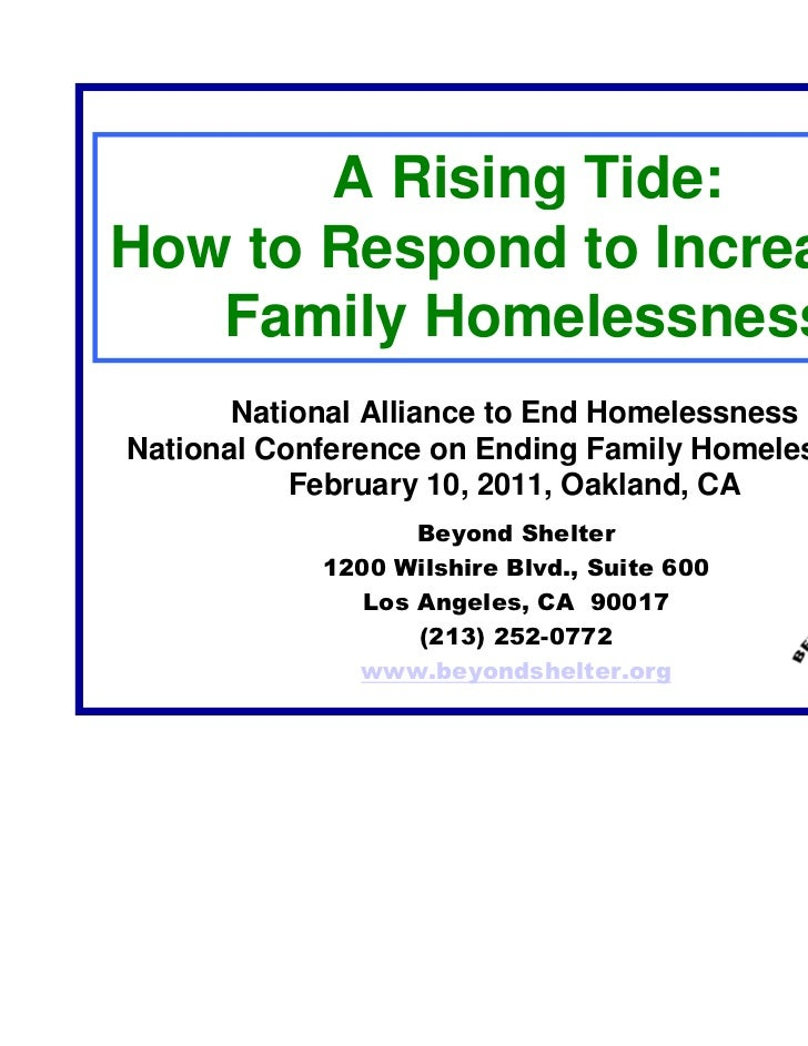A Rising Tide:How to Respond to Increasing   Family Homelessness       National Alliance to End HomelessnessNational Confe...