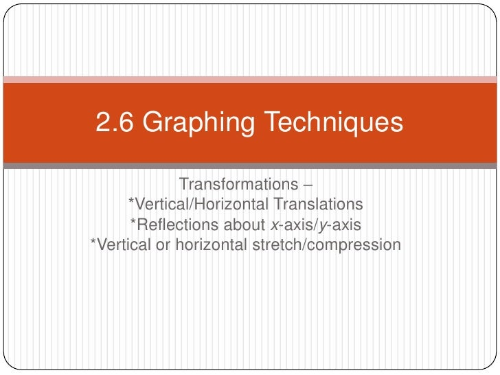 Transformations – <br />*Vertical/Horizontal Translations<br />*Reflections about x-axis/y-axis<br />*Vertical or horizont...