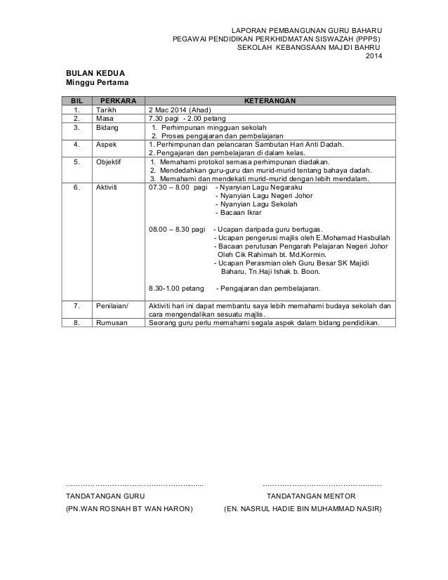 LAPORAN PEMBANGUNAN GURU BAHARU PEGAWAI PENDIDIKAN PERKHIDMATAN SISWAZAH (PPPS) SEKOLAH KEBANGSAAN MAJIDI BAHRU 2014 BULAN...