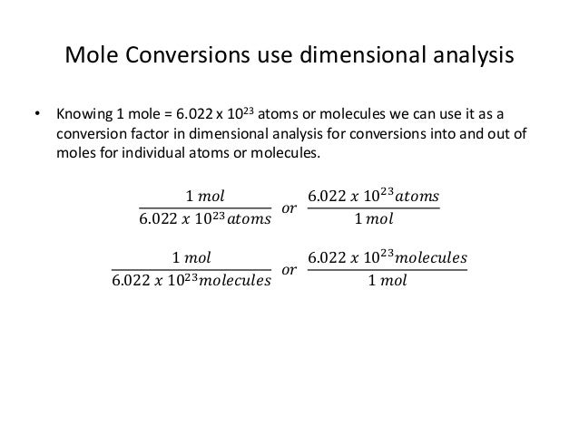 2 6 Unit Conversion Mole Conversions Atom And Molecule