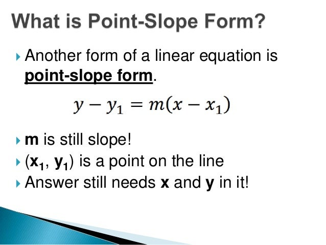 2 6 Writing Equations In Point Slope Form