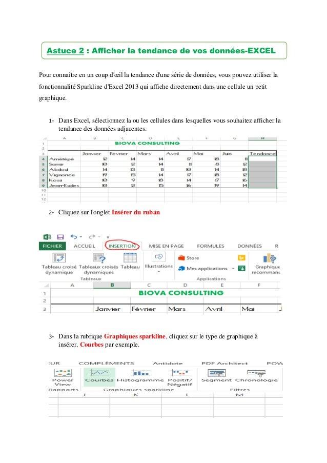 Pour connaître en un coup d'œil la tendance d'une série de données, vous pouvez utiliser la fonctionnalité Sparkline d'Exc...