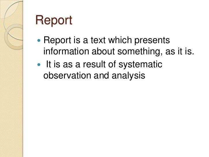 genre report