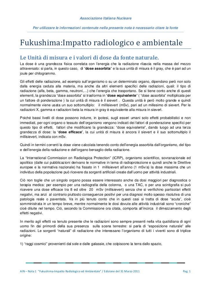 Associazione Italiana Nucleare         Per utilizzare le informazioni contenute nella presente nota è necessario citare la...