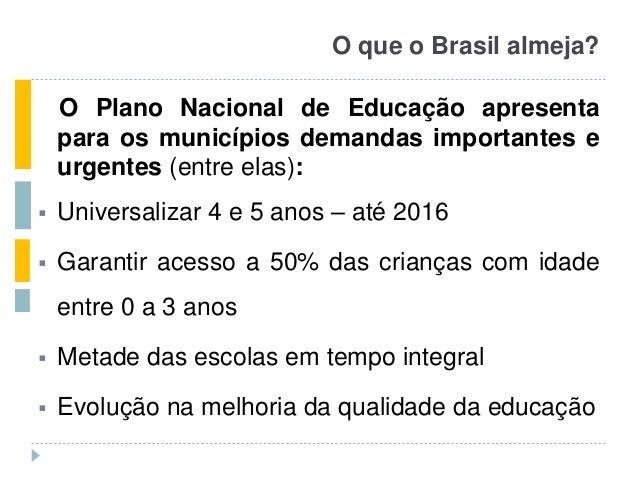 O que o Brasil almeja? O Plano Nacional de Educação apresenta para os municípios demandas importantes e urgentes (entre el...