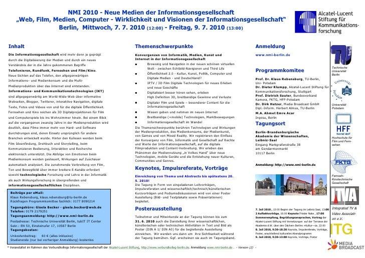 """NMI 2010 - Neue Medien der Informationsgesellschaft       """"Web, Film, Medien, Computer - Wirklichkeit und Visionen der Inf..."""