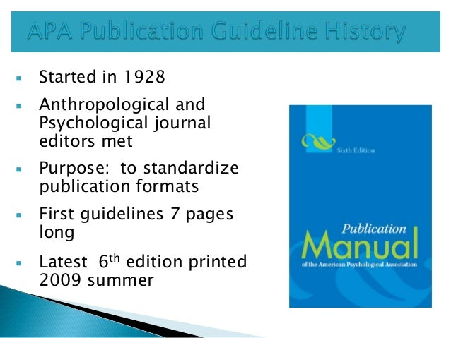 APA Publication Manual 6th Edition Slide 2