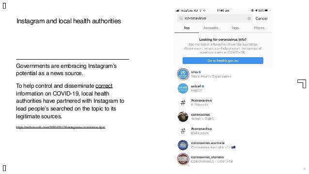 14 Governments are embracing Instagram's potential as a news source. To help control and disseminate correct information o...