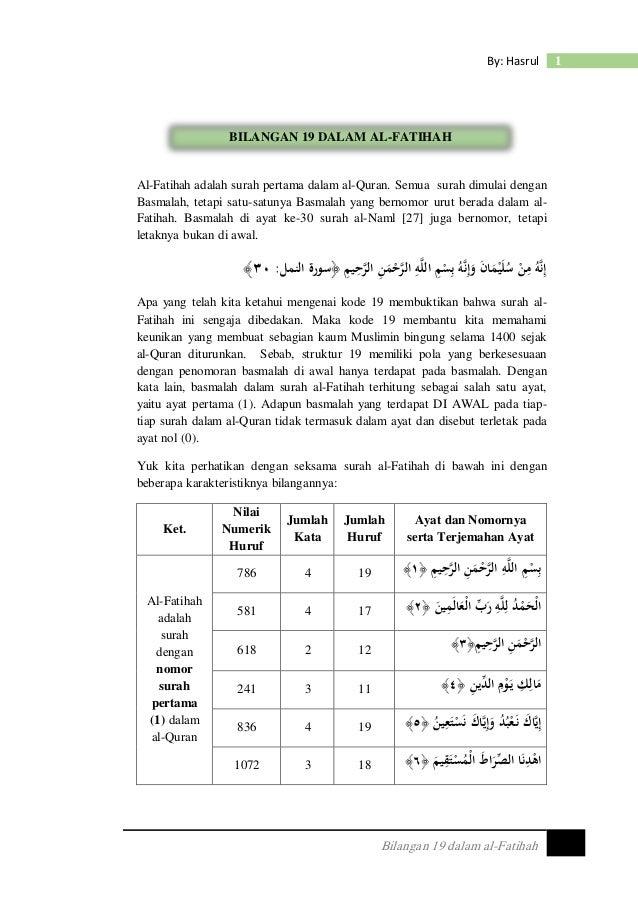 Bilangan 19 Dalam Al Fatihah Pdf