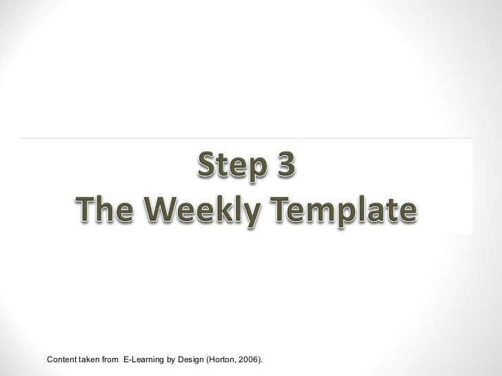 The weekly template
