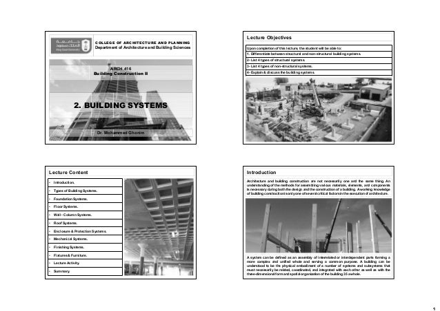 COLLEGE OF ARCHITECTURE AND PLANNING Department of Architecture and Building Sciences Dr. Mohammed Ghonim 2. BUILDING SYST...