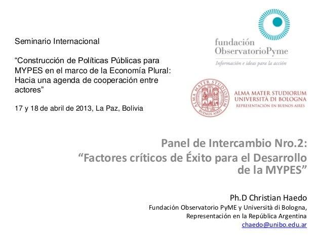 """Seminario Internacional""""Construcción de Políticas Públicas paraMYPES en el marco de la Economía Plural:Hacia una agenda de..."""