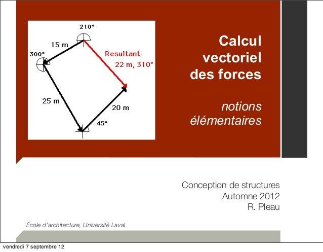 Calcul  vectoriel  des forces  notions  élémentaires  Conception de structures  Automne 2012  R. Pleau  École d'architectu...