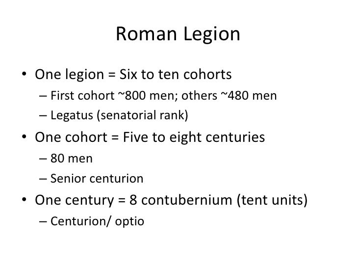 the relationship between a legion cohort and century
