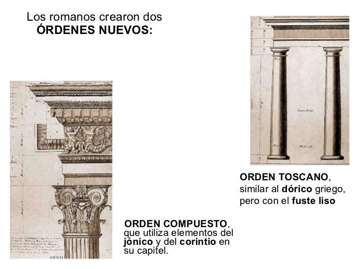 Los romanos crearon dos   ÓRDENES NUEVOS:  <ul><li>ORDEN COMPUESTO , que utiliza elementos del  jónico  y del  corintio  e...