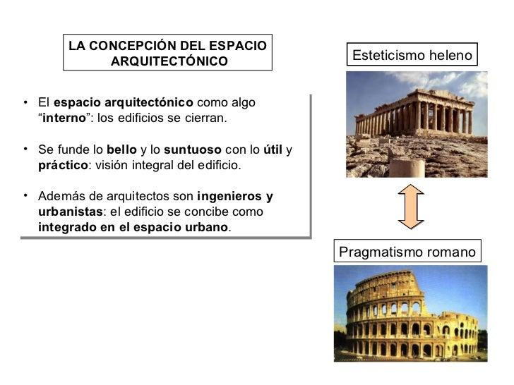 LA CONCEPCIÓN DEL ESPACIO ARQUITECTÓNICO Esteticismo heleno Pragmatismo romano <ul><li>El  espacio arquitectónico  como al...