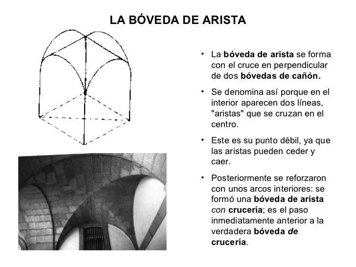 LA BÓVEDA DE ARISTA <ul><li>La  bóveda de arista  se forma con el cruce en perpendicular de dos  bóvedas de cañón. </li></...