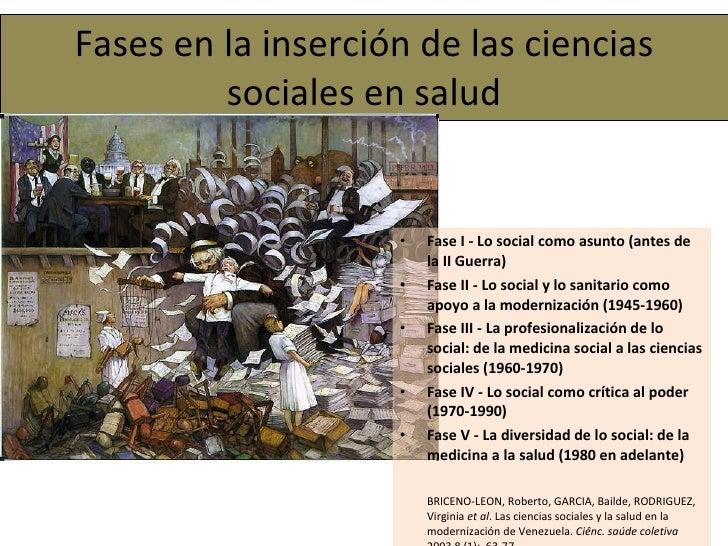 Fases en la inserción de las ciencias sociales en salud <ul><li>Fase I - Lo social como asunto (antes de la II Guerra)  </...