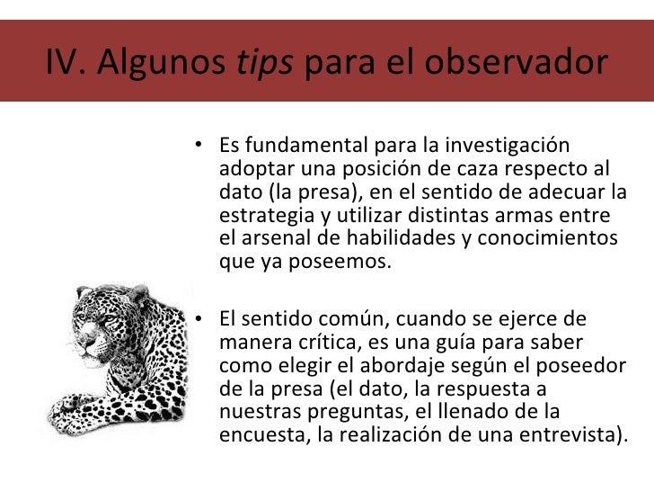 IV. Algunos  tips  para el observador <ul><li>Es fundamental para la investigación adoptar una posición de caza respecto a...