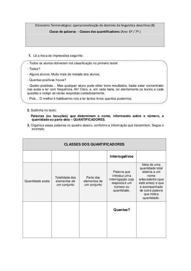 Dicionário Terminológico: operacionalização do domínio da linguística descritiva (B)                Classe de palavras - C...