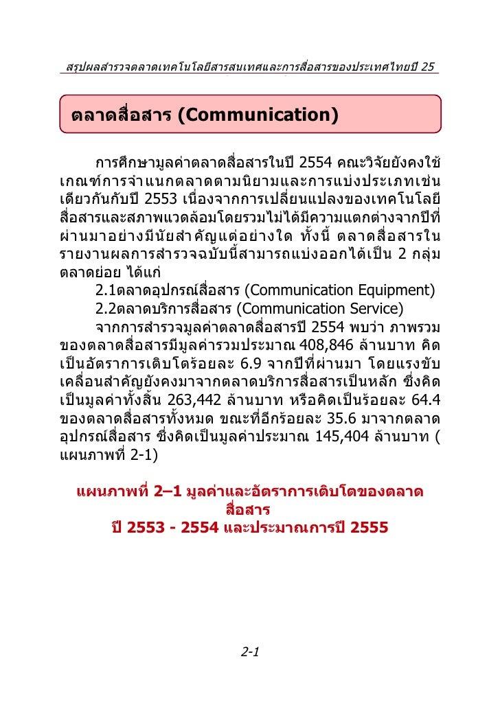 สรุปผลสำำรวจตลำดเทคโนโลยีสำรสนเทศและกำรสื่อสำรของประเทศไทยปี 25                     54 และประมำณกำรปี 2555  ตลาดสื่อสาร (C...