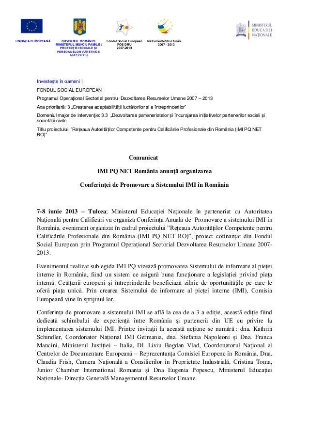 UNIUNEA EUROPEANĂ GUVERNUL ROMÂNIEI MINISTERUL MUNCII, FAMILIEI, PROTECŢIEI SOCIALE IȘ PERSOANELOR VĂRSTNICE AMPOSDRU Fond...