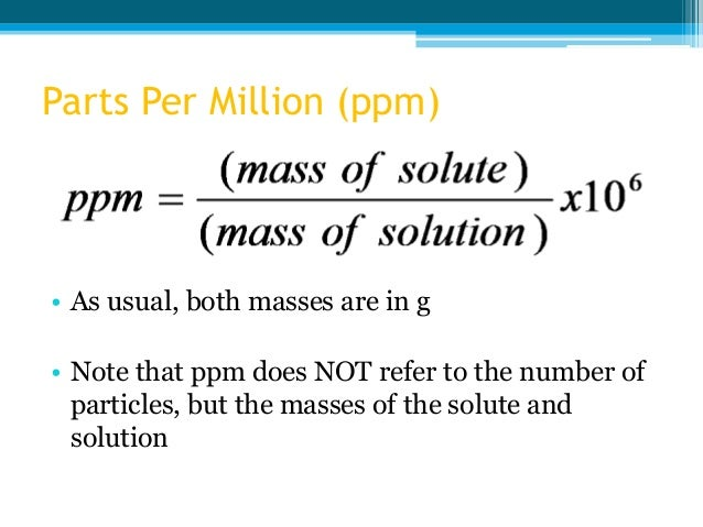 2 concentration of solutions – Parts Per Million Worksheet