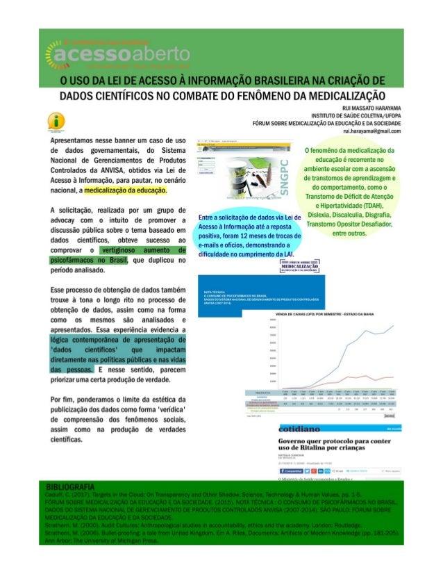O uso da Lei de Acesso à Informação Brasileira na criação de dados científicos no combate do fenômeno da medicalização - C...