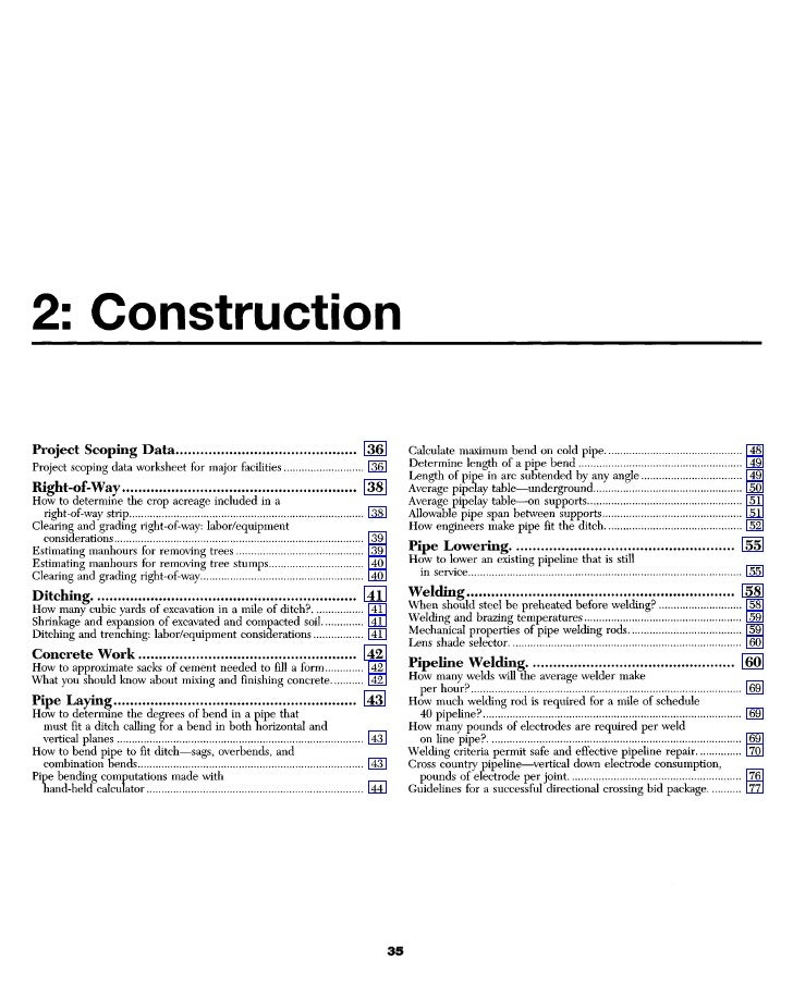 2: Construction  Project Scoping Data                                           36    Calculate maximum bend on cold pipe ...