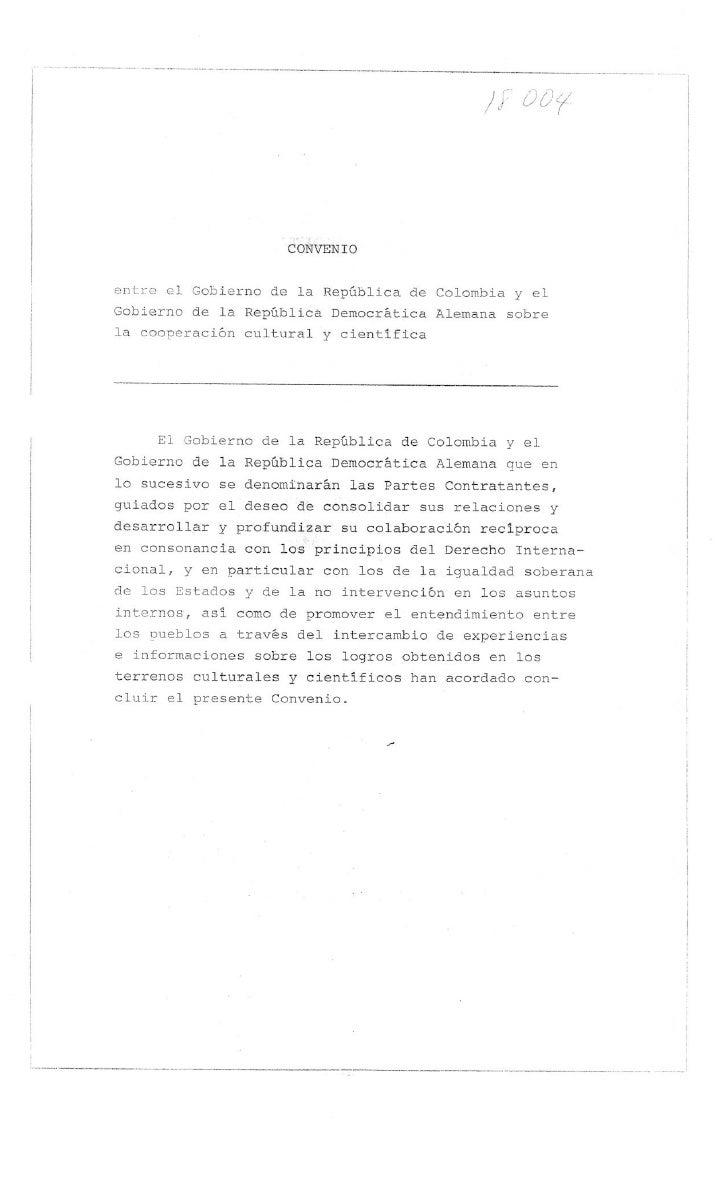 Convenio de Cooperacion Cultural y Cientifica con Alemania 1976