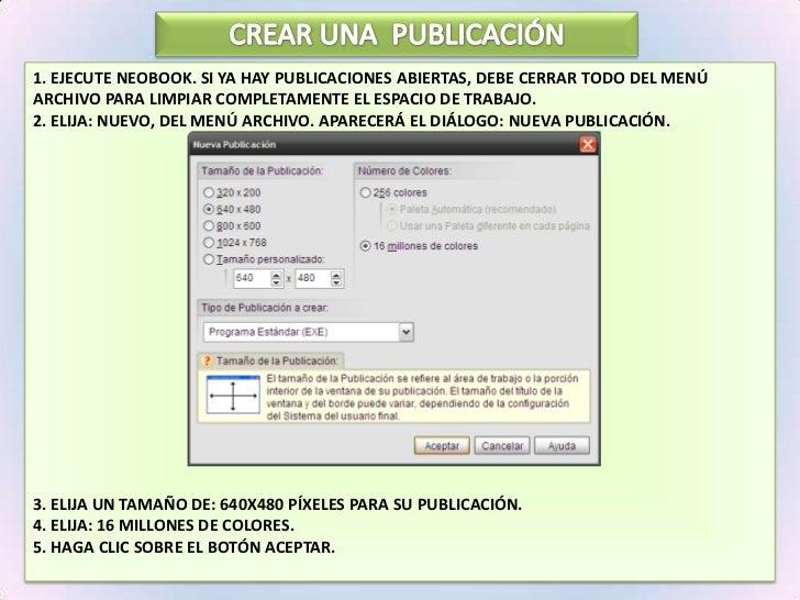 CREAR UNA  PUBLICACIÓN<br />1. Ejecute NeoBook. Si ya hay publicaciones abiertas, debe Cerrar Todo del menú Archivo para l...