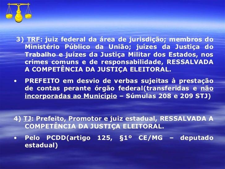 <ul><li>3)  TRF : juiz federal da área de jurisdição; membros do Ministério Público da União; juízes da Justiça do Trabalh...