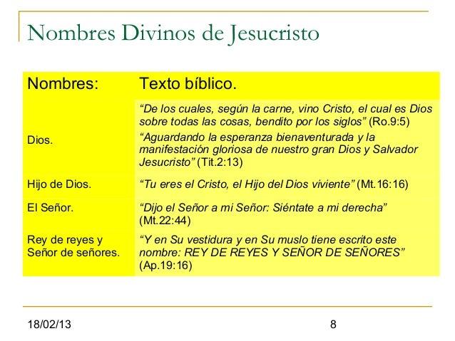 """Nombres Divinos de JesucristoNombres:            Texto bíblico.                    """"De los cuales, según la carne, vino Cr..."""