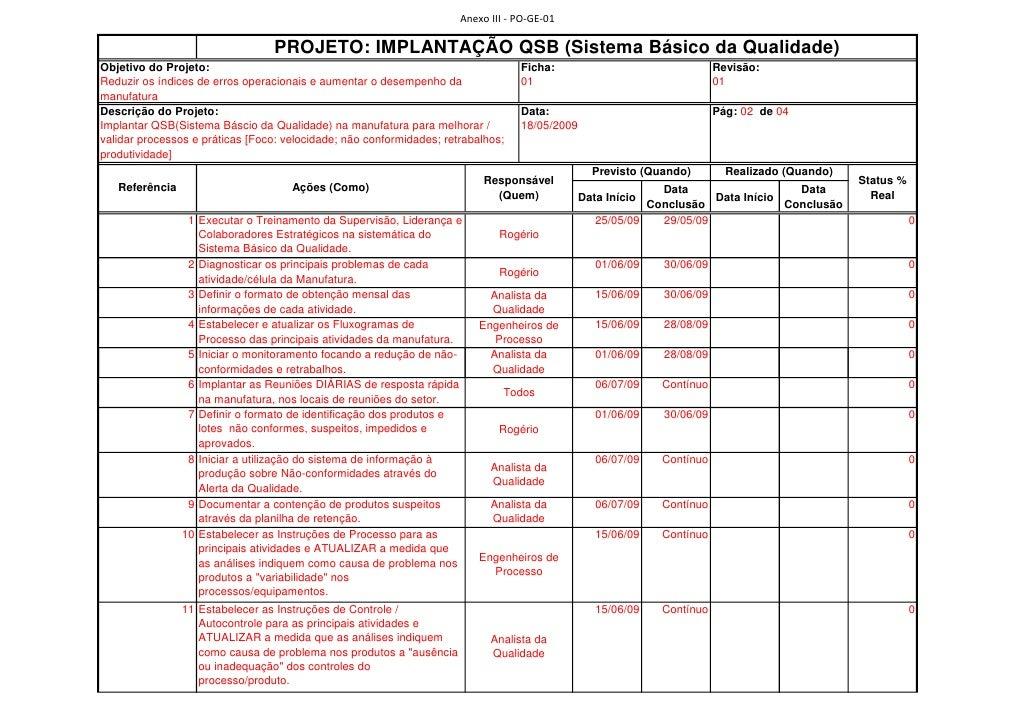 Anexo III - PO-GE-01                                    PROJETO: IMPLANTAÇÃO QSB (Sistema Básico da Qualidade) Objetivo do...