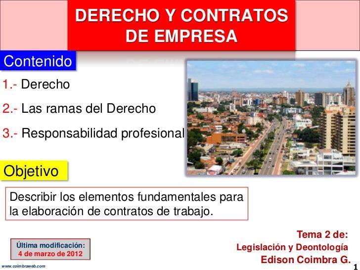 DERECHO Y CONTRATOS                          DE EMPRESAContenido1.- Derecho2.- Las ramas del Derecho3.- Responsabilidad pr...
