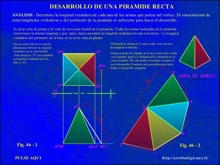 PULSE AQUI http://arrobadtgd.mex.tl/ DESARROLLO DE UNA PIRAMIDE   RECTA ANÀLISIS:   Determine la longitud verdadera de cad...