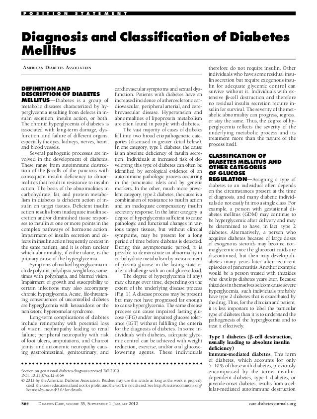 P O S I T I O N  S T A T E M E N T  Diagnosis and Classification of Diabetes Mellitus AMERICAN DIABETES ASSOCIATION  DEFINI...