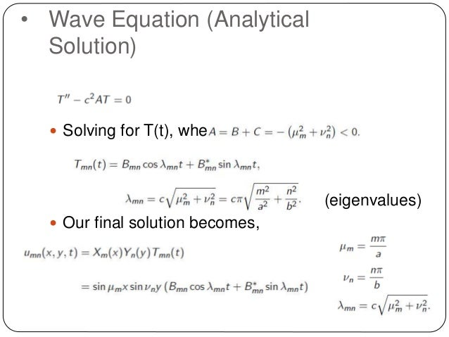 2 Dimensional Wave Equation Analytical and Numerical Solution