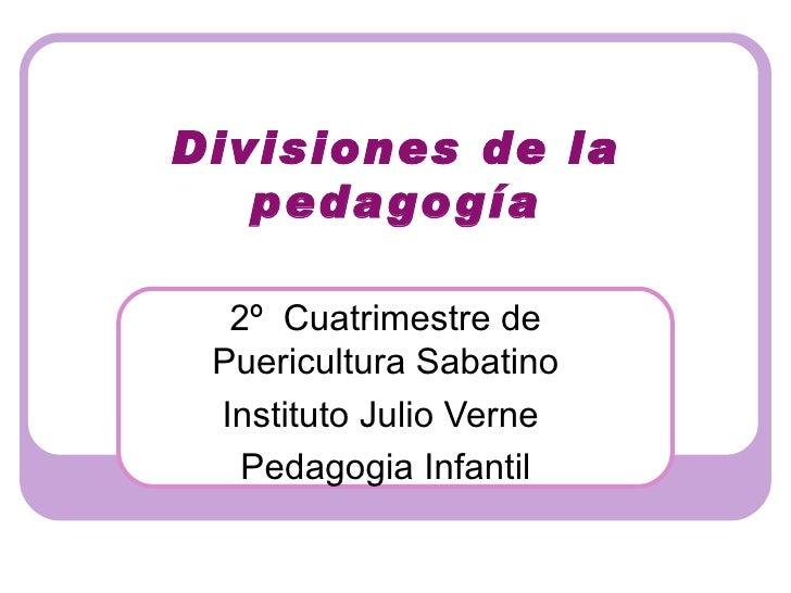 Divisiones de la   peda gogía  2º Cuatrimestre de Puericultura Sabatino Instituto Julio Verne   Pedagogia Infantil