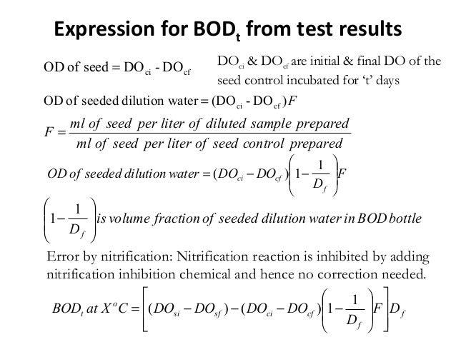 F)DO-(DOaterdilution wseededofOD cfci= preparedcontrolseedofliterperseedofml preparedsampledilutedofliterperseedofml F = f...