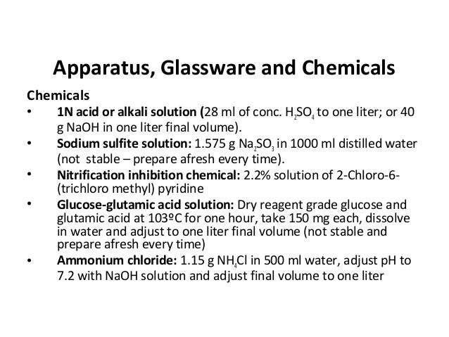 Apparatus, Glassware and Chemicals Chemicals • 1N acid or alkali solution (28 ml of conc. H2SO4 to one liter; or 40 g NaOH...