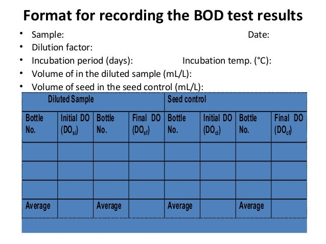 Format for recording the BOD test results • Sample: Date: • Dilution factor: • Incubation period (days): Incubation temp. ...