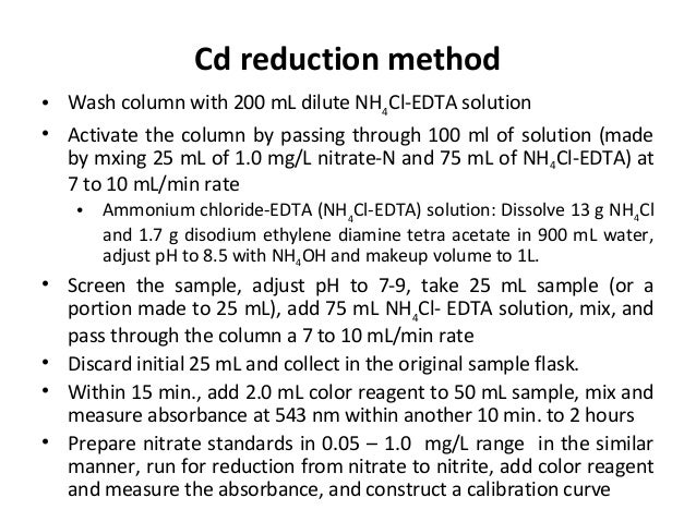• Wash column with 200 mL dilute NH4 Cl-EDTA solution • Activate the column by passing through 100 ml of solution (made by...