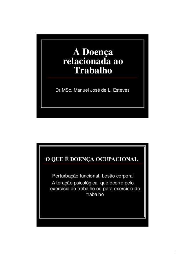 1 A Doença relacionada ao Trabalho Dr.MSc. Manuel José de L. Esteves O QUE É DOENÇA OCUPACIONAL Perturbação funcional, Les...