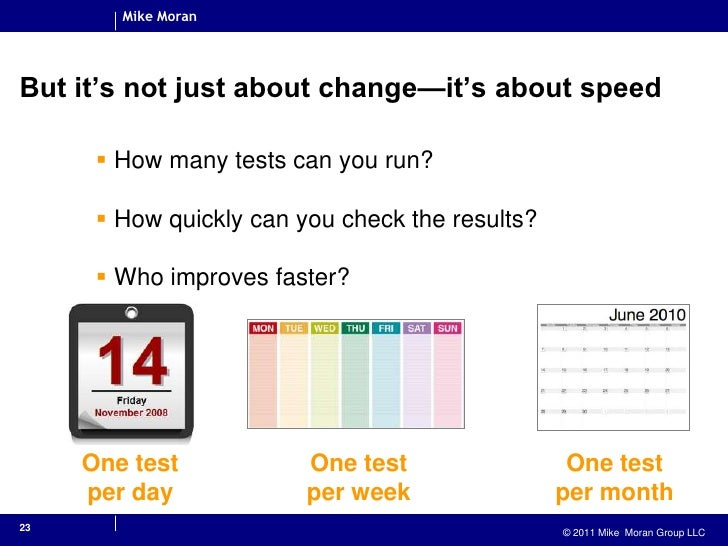But it's not just about change—it's about speed<br />How many tests can you run?<br />How quickly can you check the result...