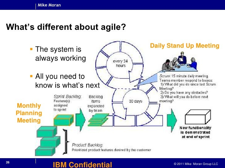 26<br />IBM Confidential<br />What's different about agile?<br />The system isalways working<br />All you need toknow is w...