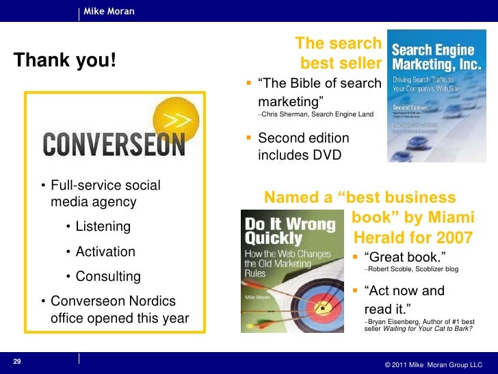 """29<br />Thank you!<br />The search best seller<br /><ul><li>""""The Bible of search marketing""""--Chris Sherman, Search Engine ..."""