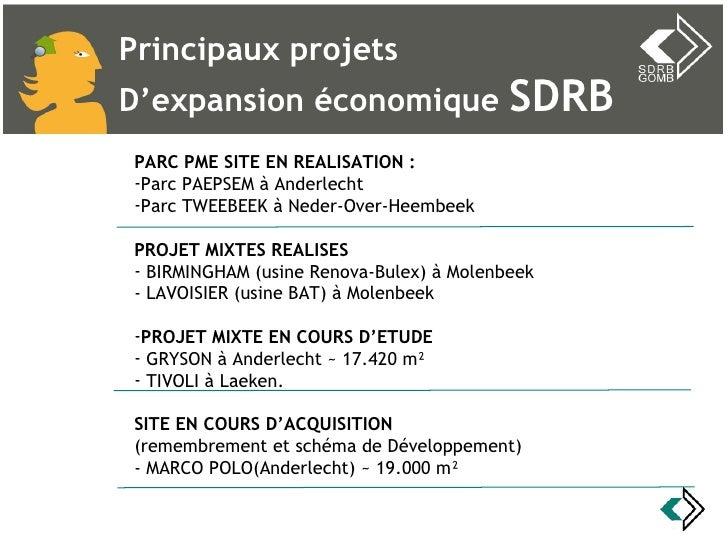 Principaux projets  D'expansion économique  SDRB <ul><li>PARC PME SITE EN REALISATION : </li></ul><ul><li>Parc PAEPSEM à A...